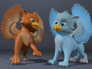 3ds cute baby griffin rigged