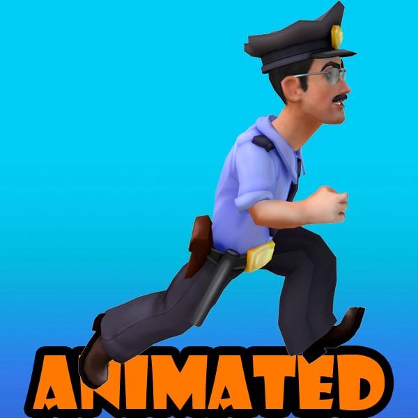 3d policeman animation model