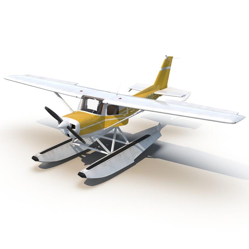 3d cessna 150 seaplane rigged