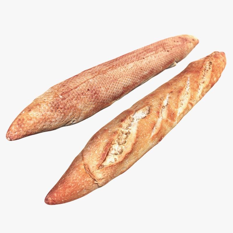 baguette scan 3d model