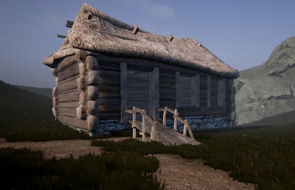 3d enterable medieval hut model