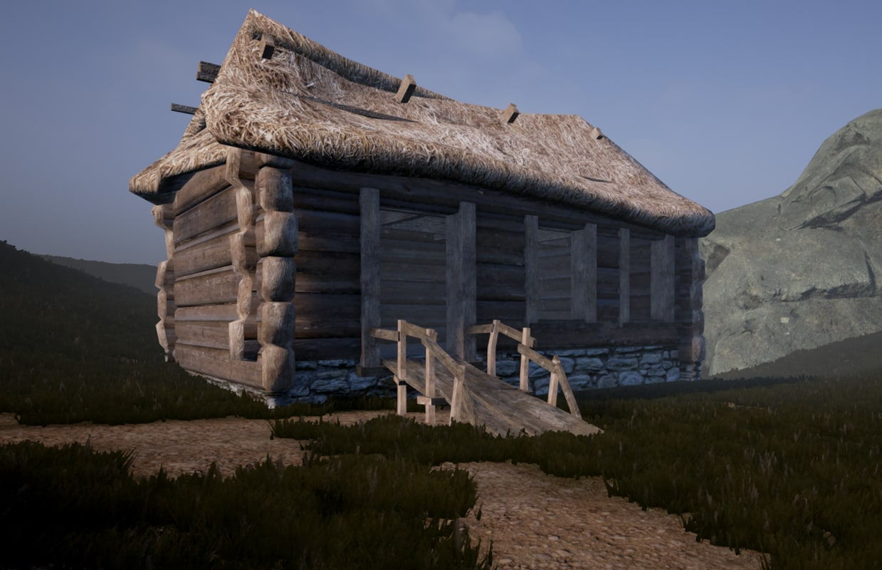 3d enterable medieval hut model