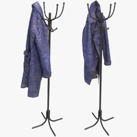 Blue Leather Coat with coat tree