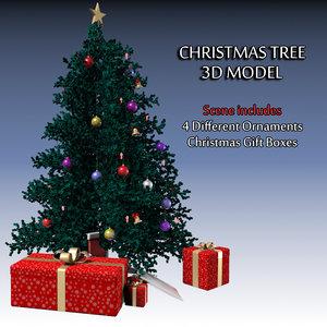 3d modeled christmas tree ornaments