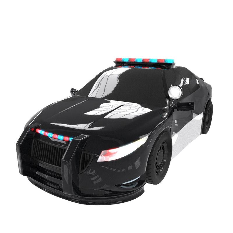 cartoon police car obj