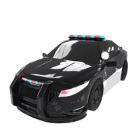 cartoon police car obj