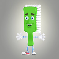 cool cartoon toothbrush obj