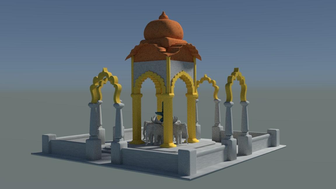 3ds temple hindu shiva