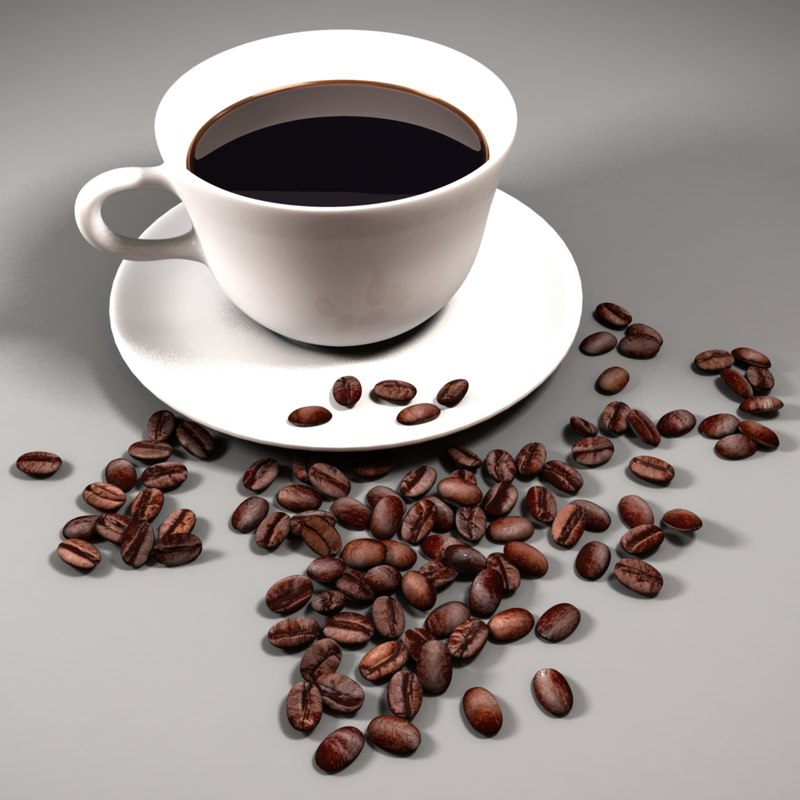 coffee cup beans 3d c4d