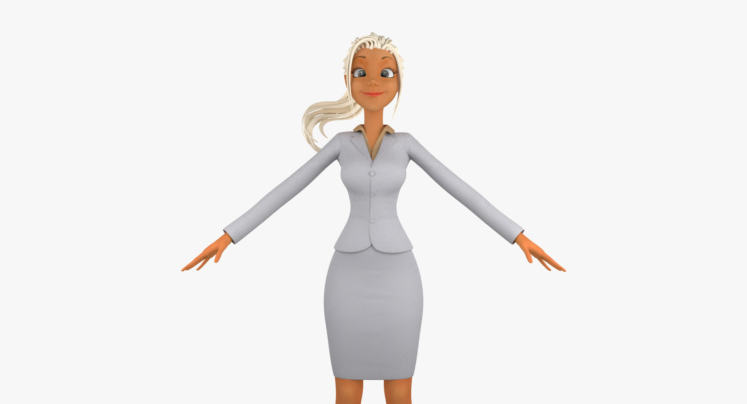 c4d cartoon business woman