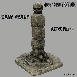 3d skull pillar model