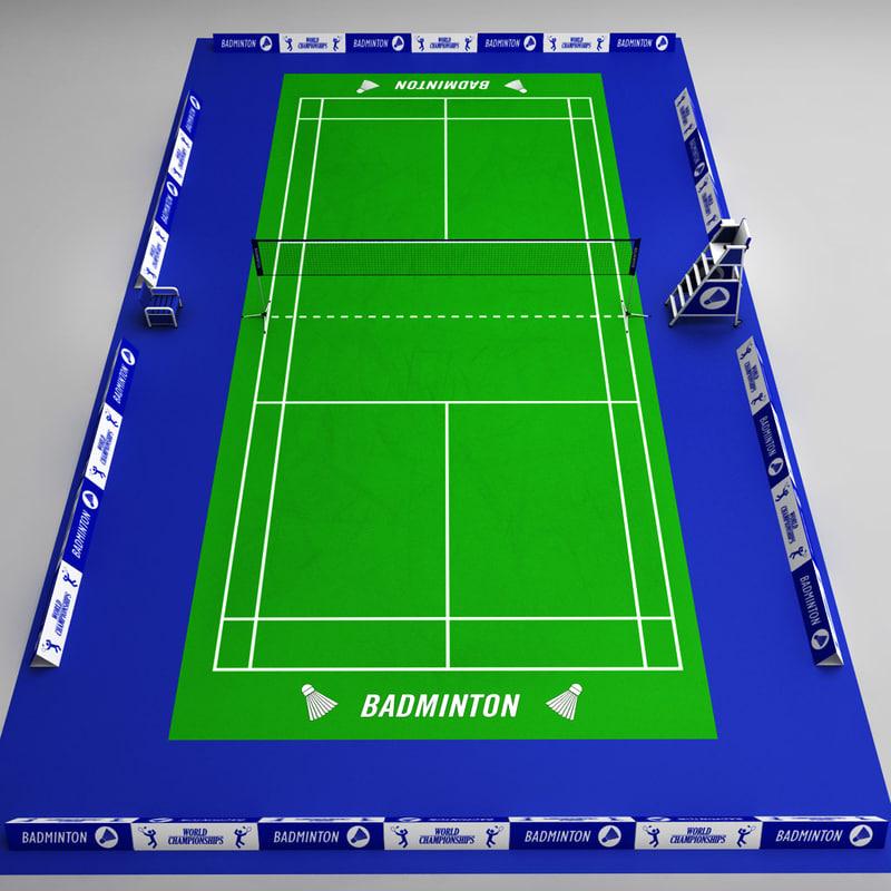 3d badminton court arena model