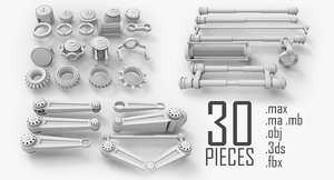 3d 3ds bolts nuts mechanical
