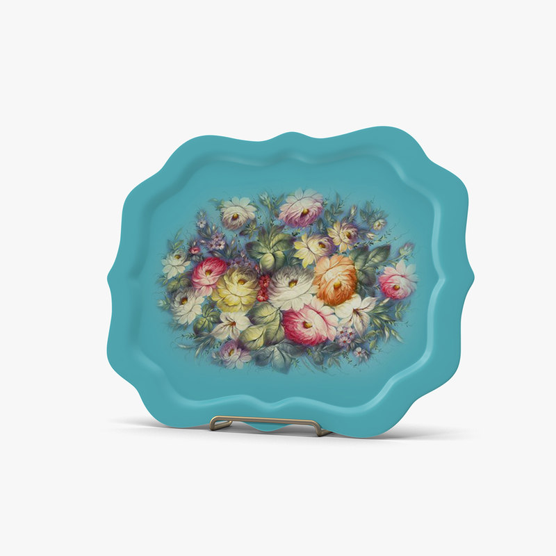plates flowers blue 3d 3ds