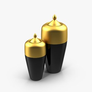 3d vases black gold model