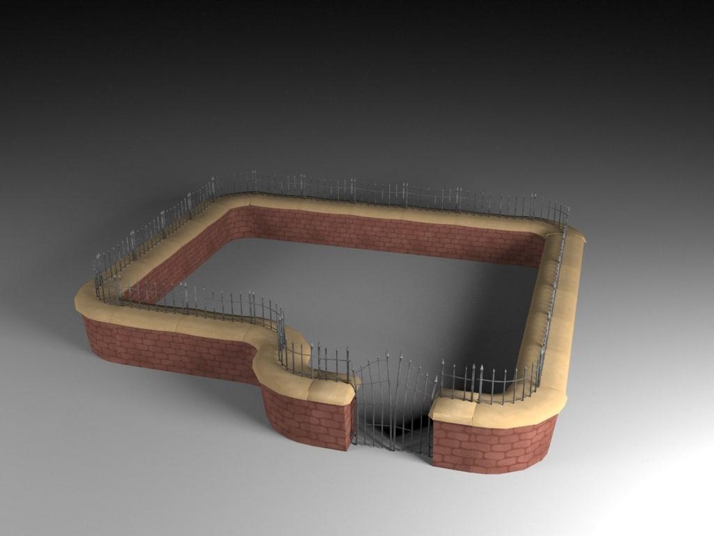 moduler toon brick wall 3d model