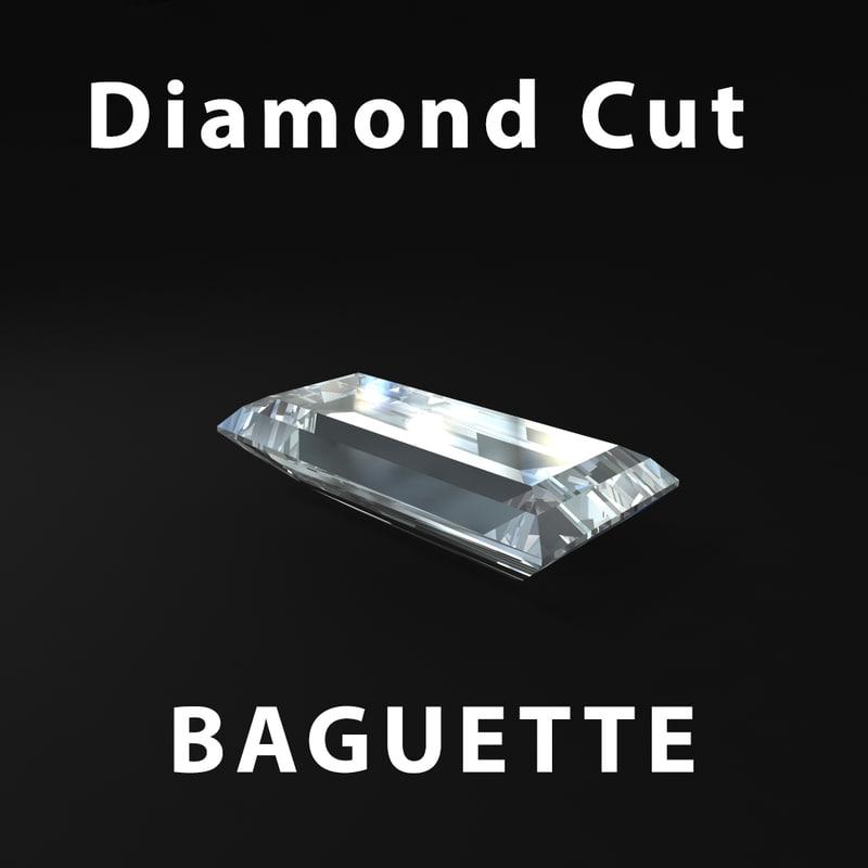 baguette diamond cut 3d model