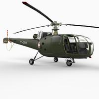 3d model alouette iii helicopter aerospatiale