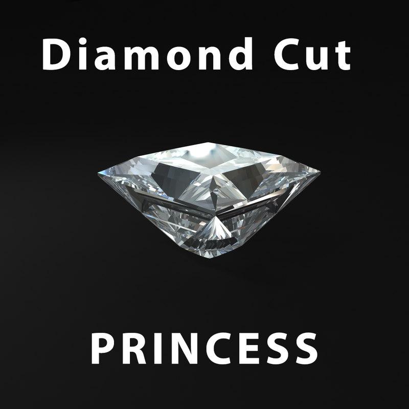 3d princess diamond cut model