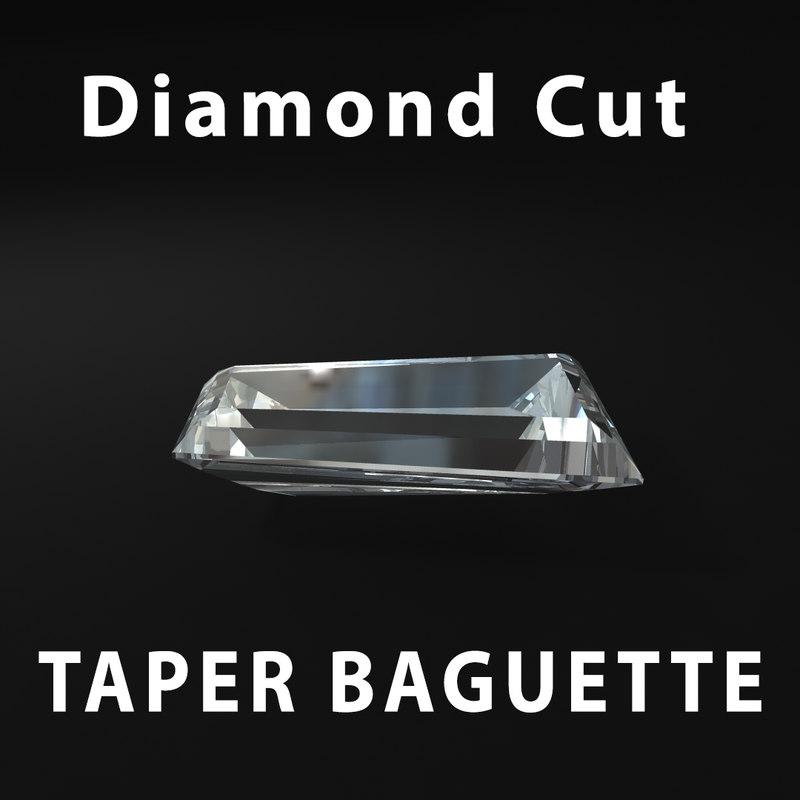 3d taper baguette diamond cut
