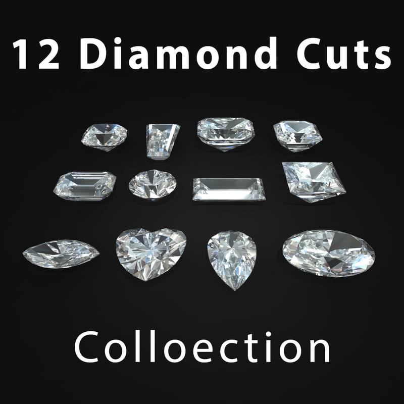 cuts diamond 3d obj