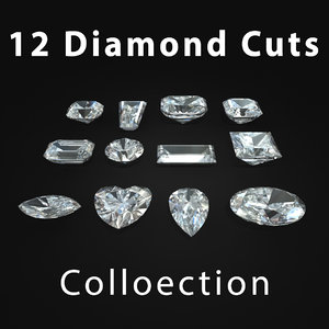 cuts diamond 3d obj