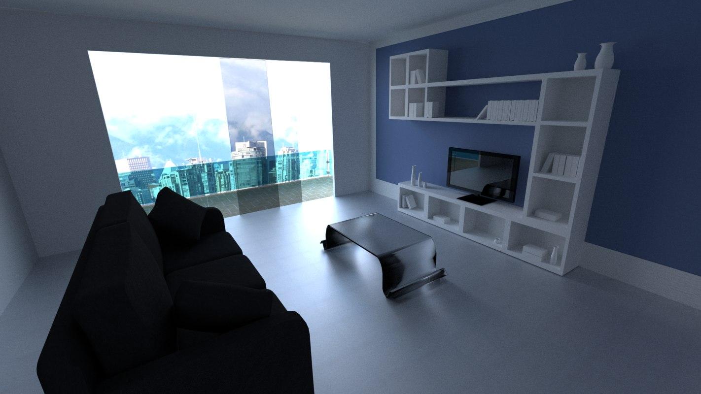 3d model of modern livingroom