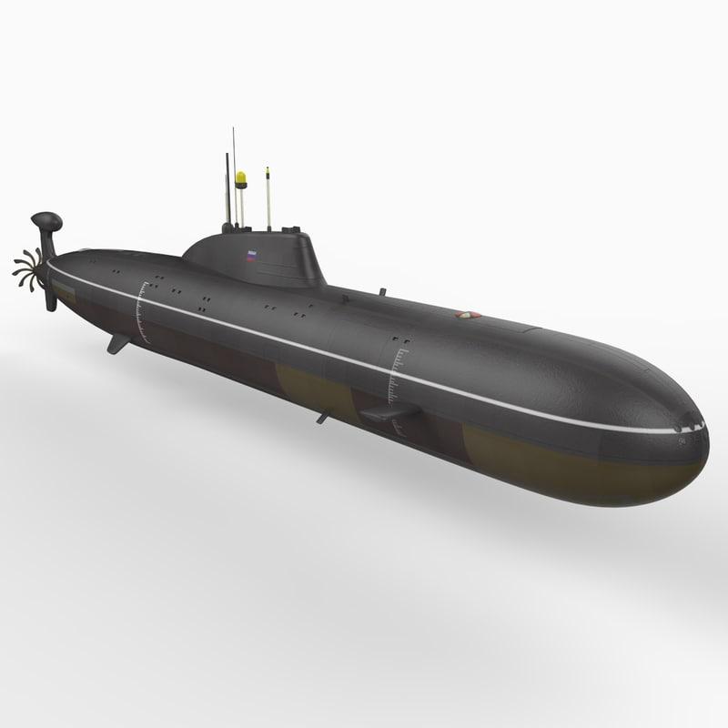 3d soviet akula class attack submarine