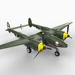 p-38 lightning lockheed 3d model
