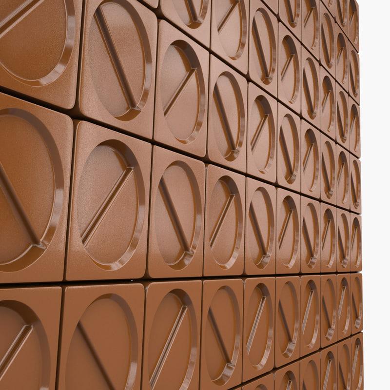button wall tile 3d model