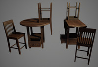 pub table chairs 3d model