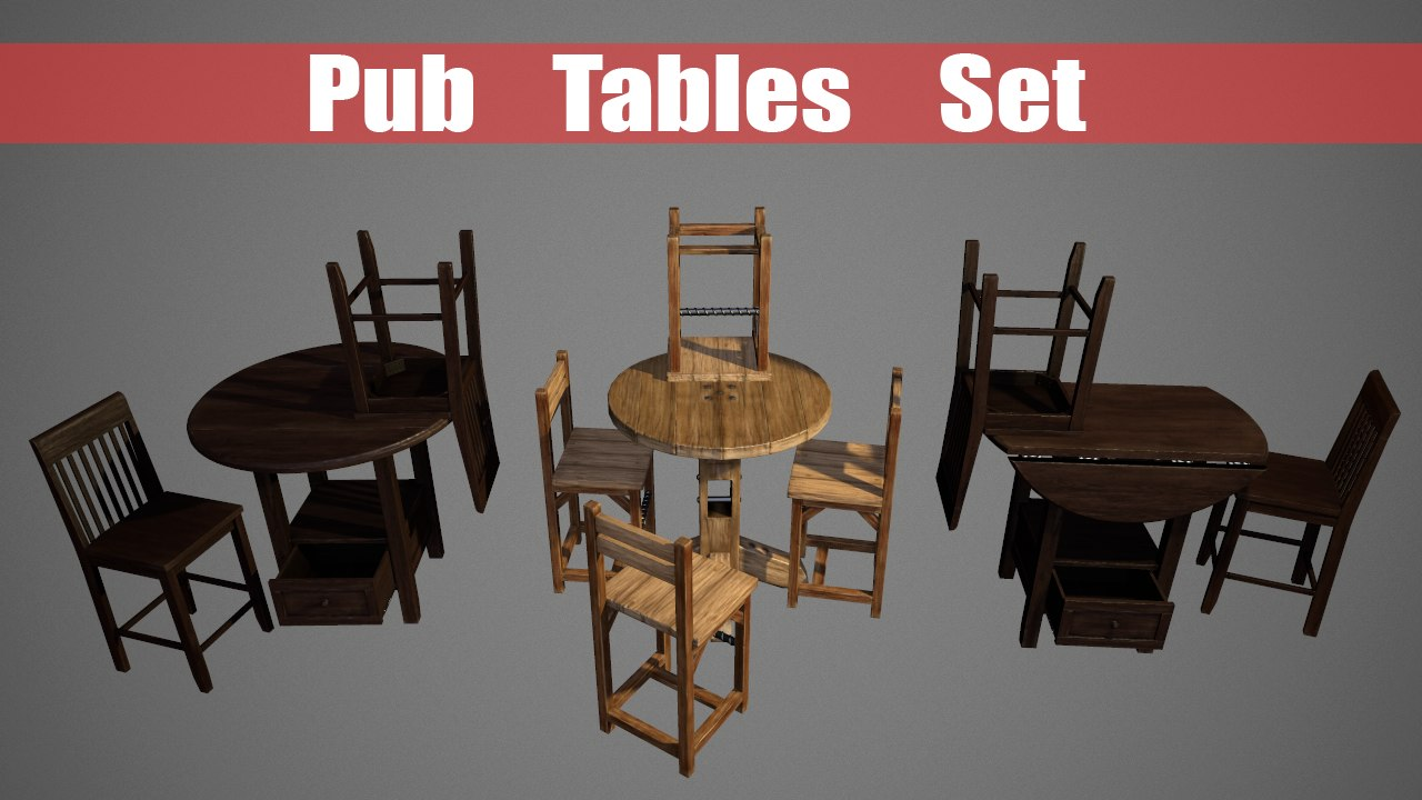 obj pub table chairs