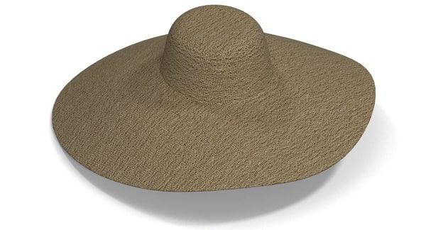 3d model wide brim hat women