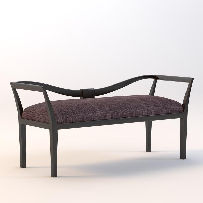 3d model love seat bench