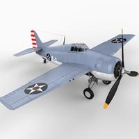 grumman f4f wildcat aircraft 3d model