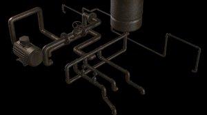 3d model industrial pipe segment