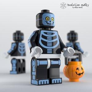 lego skeleton guy figure 3d 3ds