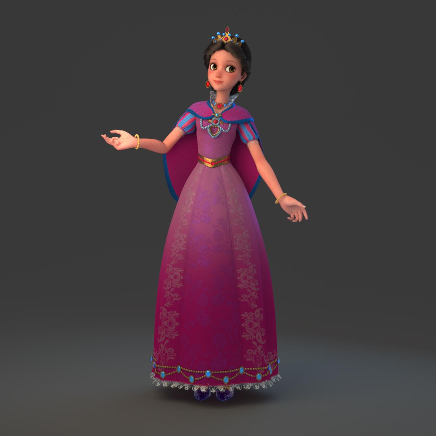3d cartoon princess rig model