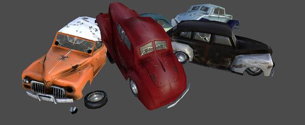 3d crashed old cars model