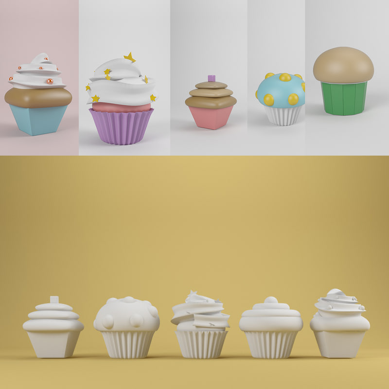 cupcake cake 3d model