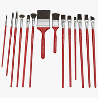 paint brushes set red 3d max