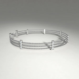 3d model silver bracelet diamond cuts