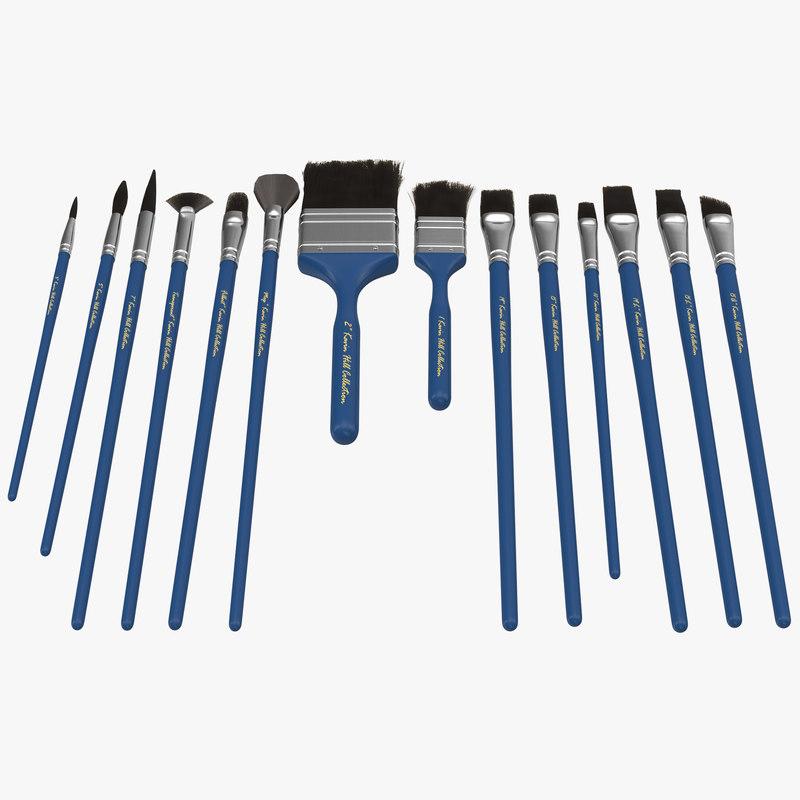 paint brushes set blue 3d max