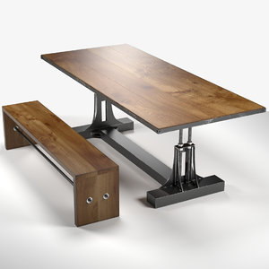 3d post industrial table bench