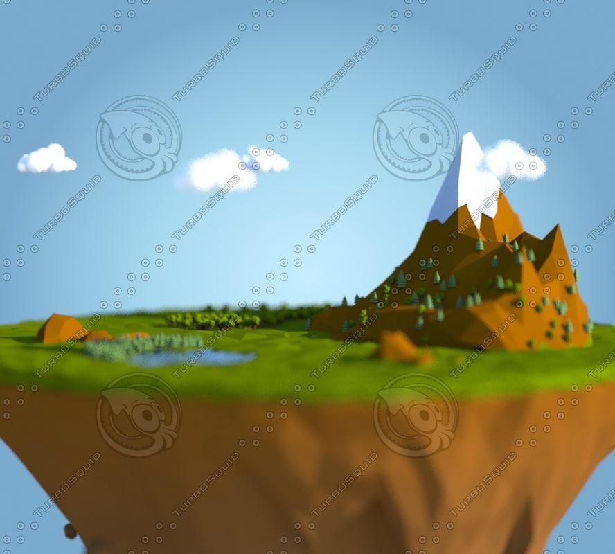 land island 3d obj