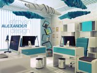 scene office interior blue max
