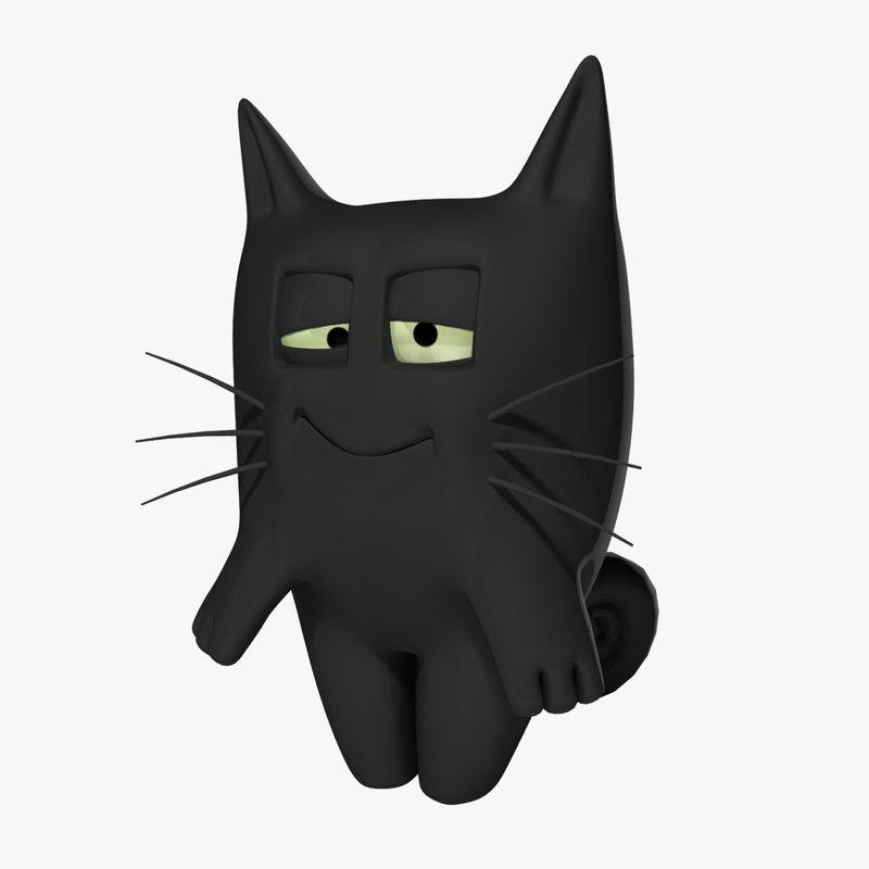 maya character black cat rigged