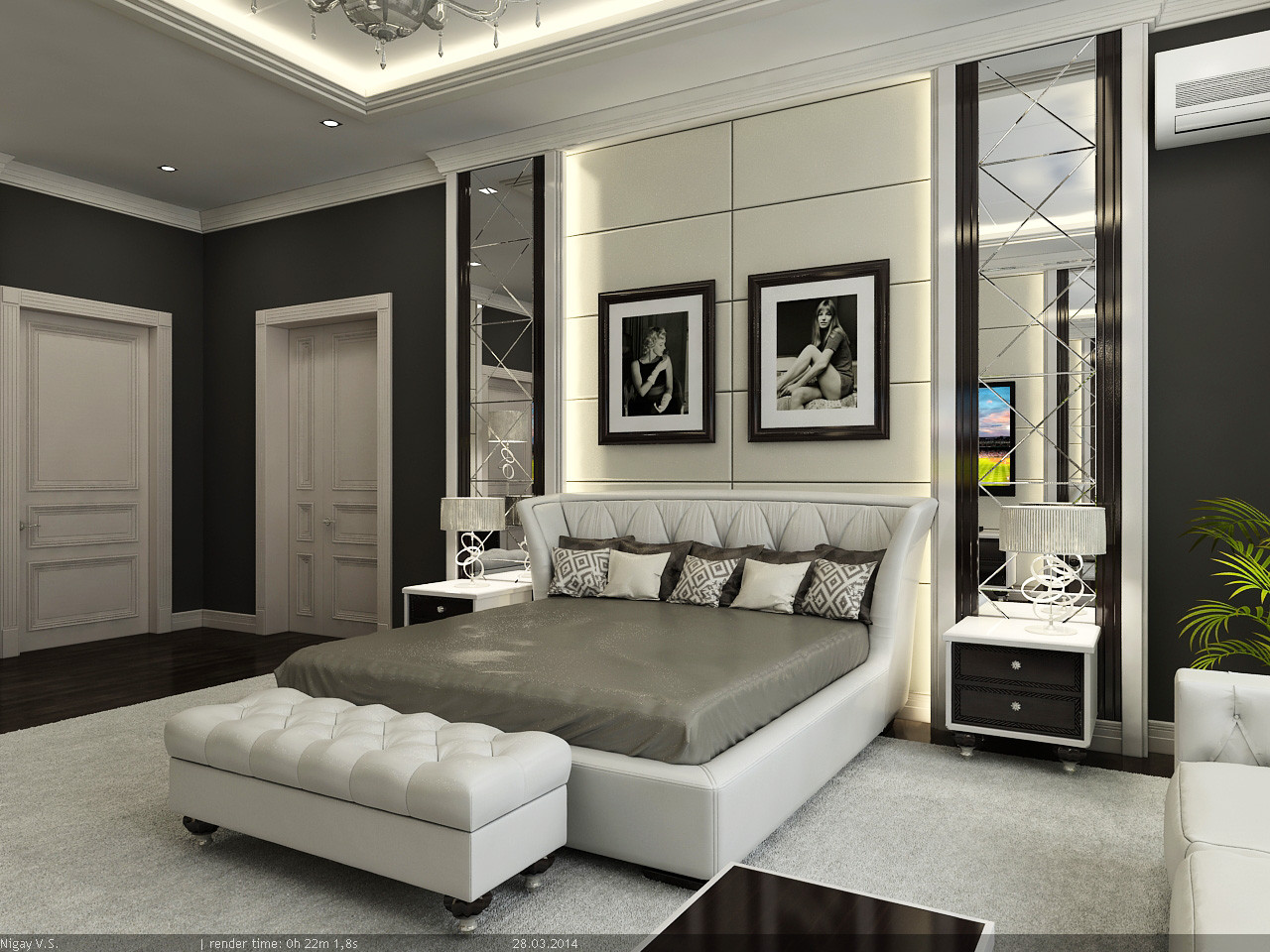 Interior master bedroom 3d model for Decor 3d model