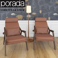 porada loretta stick floor lamp 3d model