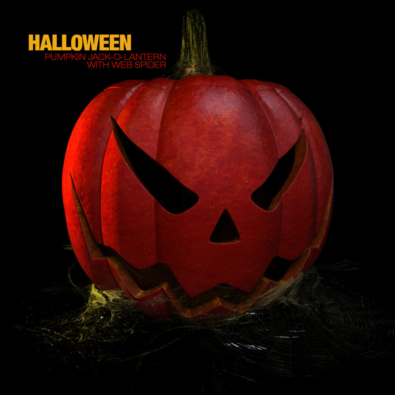 pumpkin halloween spider webs 3d model